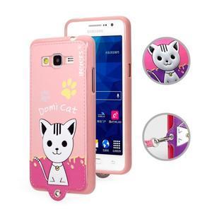 Mačička Domi s PU koženými chrbtom na Samsung Galaxy Grand Prime - ružová - 1