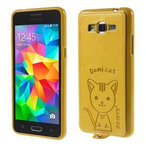 Mačička Domi kryt s PU koženým chrbtom pre Samsung Galaxy Grand Prime - žltý - 1