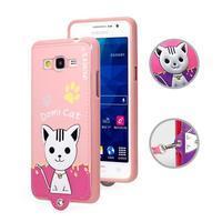 Mačička Domi s PU koženými chrbtom na Samsung Galaxy Grand Prime - ružová - 1/2