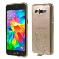 Mačička Domi kryt s PU koženým chrbtom pre Samsung Galaxy Grand Prime - zlatý - 1/6