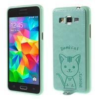 Mačička Domi kryt s PU koženými chrbtom pre Samsung Galaxy Grand Prime - cyan - 1/6