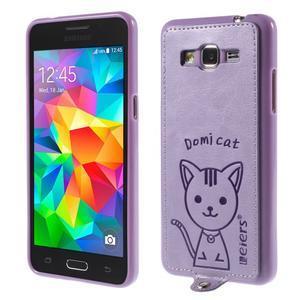Mačička Domi kryt s PU koženými chrbtom pre Samsung Galaxy Grand Prime - fialový - 1