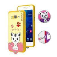 Mačička Domi s PU koženým chrbtom pre Samsung Galaxy Grand Prime - žltá - 1/2