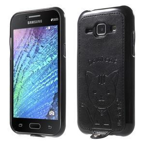 Obal s koženkovým chrbtom a mačičkou Domi pre Samsung Galaxy J1 -  čierne - 1