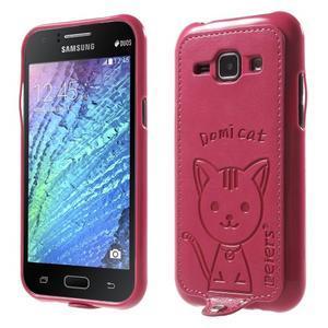 Obal s koženkovým chrbtom a mačičkou Domi pre Samsung Galaxy J1 -  magneta - 1
