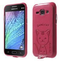 Obal s koženkovým chrbtom a mačičkou Domi pre Samsung Galaxy J1 -  magneta - 1/5