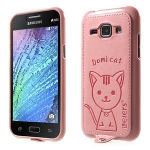 Obal s koženkovým chrbtom a mačičkou Domi pre Samsung Galaxy J1 -  ružová - 1