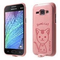 Obal s koženkovým chrbtom a mačičkou Domi pre Samsung Galaxy J1 -  ružová - 1/3