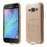 Obal s koženkovým chrbtom a mačičkou Domi pre Samsung Galaxy J1 -  zlatý - 1/7