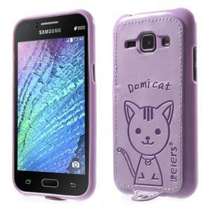 Obal s koženkovým chrbtom a mačičkou Domi pre Samsung Galaxy J1 - fialový - 1