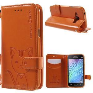 Koženkové puzdro s mačičkou Domi na Samsung Galaxy J1 - oranžové - 1