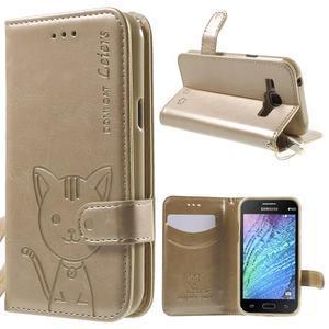Koženkové puzdro s mačičkou Domi pre Samsung Galaxy J1 - zlaté - 1