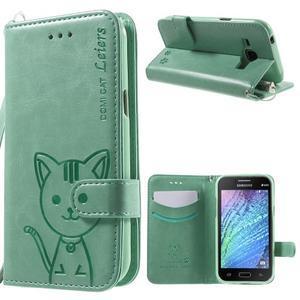 Koženkové puzdro s mačičkou Domi na Samsung Galaxy J1 - zelené - 1