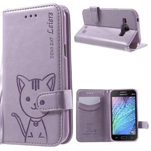 Koženkové puzdro s mačičkou Domi na Samsung Galaxy J1 - fialové - 1