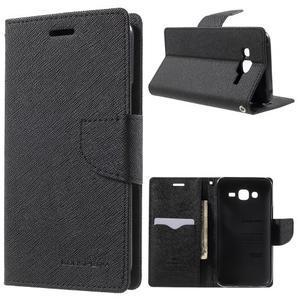 Diary štýlové peňaženkové puzdro pre Samsung Galaxy J5 - čierné - 1