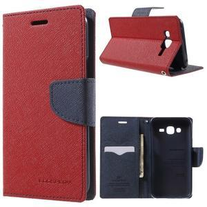 Diary štýlové peňaženkové puzdro na Samsung Galaxy J5 -  červené - 1