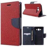 Diary štýlové peňaženkové puzdro na Samsung Galaxy J5 -  červené - 1/7