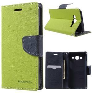 Diary štýlové peňaženkové puzdro pre Samsung Galaxy J5 -  zelené - 1