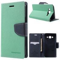 Diary štýlové peňaženkové puzdro na Samsung Galaxy J5 -  azurové - 1/7
