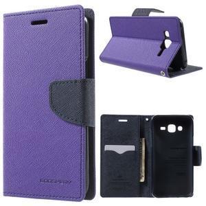 Diary štýlové peňaženkové puzdro pre Samsung Galaxy J5 -  fialové - 1