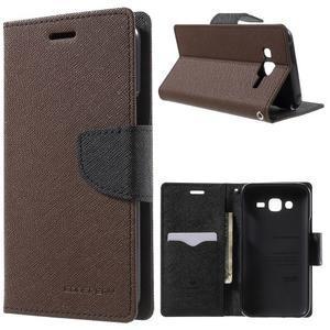 Diary štýlové peňaženkové puzdro na Samsung Galaxy J5 -  hnedé - 1
