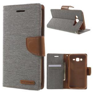 Luxury textilní/pu kožené puzdro na Samsung Galaxy J5 - šedé - 1