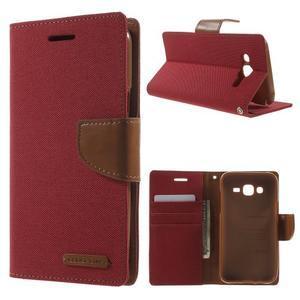 Luxury textilní/pu kožené puzdro na Samsung Galaxy J5 - červené - 1