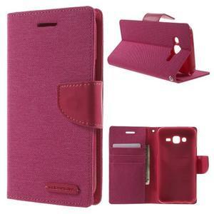 Luxury textilné/pu kožené puzdro pre Samsung Galaxy J5 - rose - 1