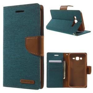 Luxury textilní/pu kožené puzdro na Samsung Galaxy J5 - zelenomodré - 1
