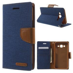Luxury textilní/pu kožené puzdro na Samsung Galaxy J5 -  modré - 1