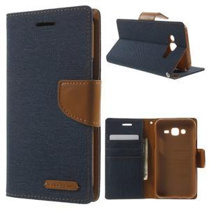 Luxury textilní/pu kožené puzdro na Samsung Galaxy J5 -  tmavomodré - 1