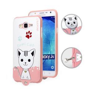 Gélový obal s mačičkou Domi s koženkovým chrbtom na Samsung Galaxy J5 - biely - 1