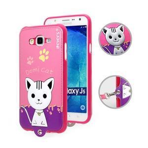 Gélový obal s mačičkou Domi s koženkovým chrbtom na Samsung Galaxy J5 - rose - 1