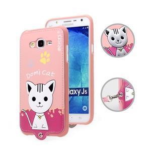 Gélový obal s mačičkou Domi s koženkovým chrbtom pre Samsung Galaxy J5 - ružové - 1
