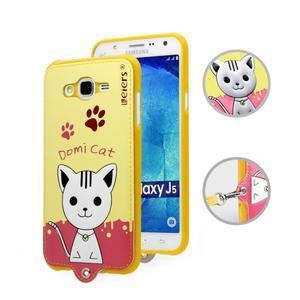 Gélový obal s mačičkou Domi s koženkovým chrbtom pre Samsung Galaxy J5 - žlté - 1