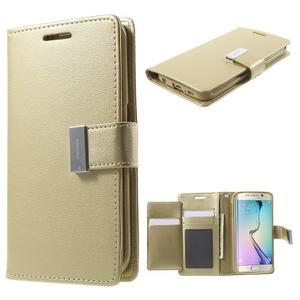 Wallet PU kožené puzdro pre Samsung Galaxy S6 Edge G925 - champagne - 1