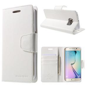 Wallet PU kožené puzdro na Samsung Galaxy S6 Edge G925 -  biele - 1