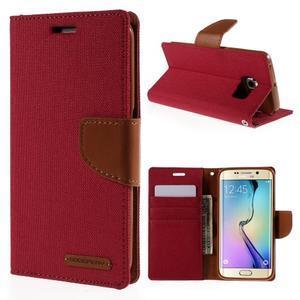 Luxury textilné / koženkové puzdro pre Samsung Galaxy S6 Edge - červené - 1