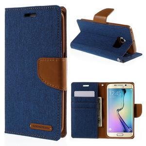 Luxury textilné / koženkové puzdro pre Samsung Galaxy S6 Edge - modré - 1