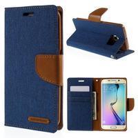 Luxury textilné / koženkové puzdro pre Samsung Galaxy S6 Edge - modré - 1/6