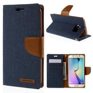 Luxury textilné / koženkové puzdro pre Samsung Galaxy S6 Edge - jeans - 1