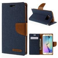 Luxury textilné / koženkové puzdro pre Samsung Galaxy S6 Edge - jeans - 1/7