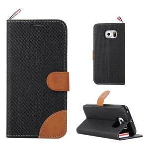 Jeans textilní/pu kožené puzdro na Samsung Galaxy S6 Edge - čierne - 1