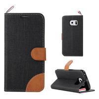 Jeans textilní/pu kožené puzdro na Samsung Galaxy S6 Edge - čierne - 1/7