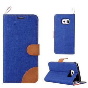 Jeans textilní/pu kožené puzdro na Samsung Galaxy S6 Edge - modré - 1