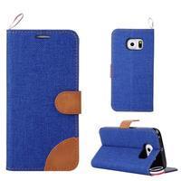 Jeans textilné/pu kožené puzdro pre Samsung Galaxy S6 Edge - modré - 1/5