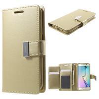 Wallet PU kožené puzdro pre Samsung Galaxy S6 Edge G925 - champagne - 1/7