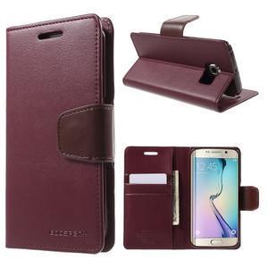 Wallet PU kožené puzdro pre Samsung Galaxy S6 Edge G925 -  vínové - 1