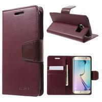 Wallet PU kožené puzdro pre Samsung Galaxy S6 Edge G925 -  vínové - 1/7