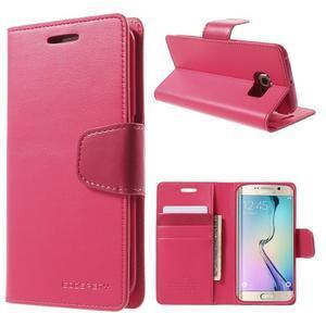 Wallet PU kožené puzdro pre Samsung Galaxy S6 Edge G925 -  rose - 1